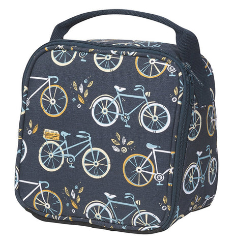 "This ""sweet ride"" lunch bag belongs next to as you eat your lunch on the go, with its unique bicycle pattern shows."