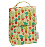 A light green handled lunch sack with a pattern of various potted cacti