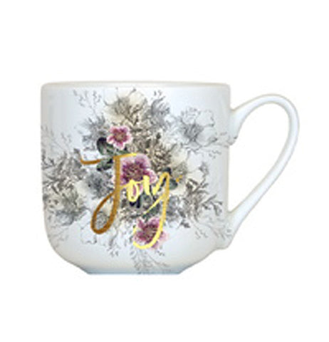 "Joy mug features the word ""Joy"" written in gold letters over a gray, white and pink flower design."