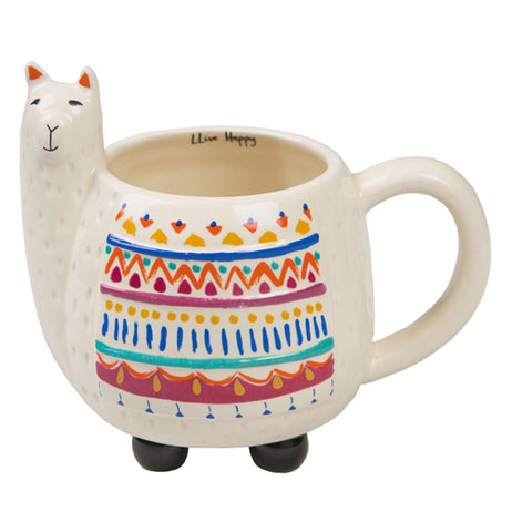 White ceramic mug in the shape of a LLama.  It has multiple sahpes and colors on the front.  It also has little black feet on the bottom.