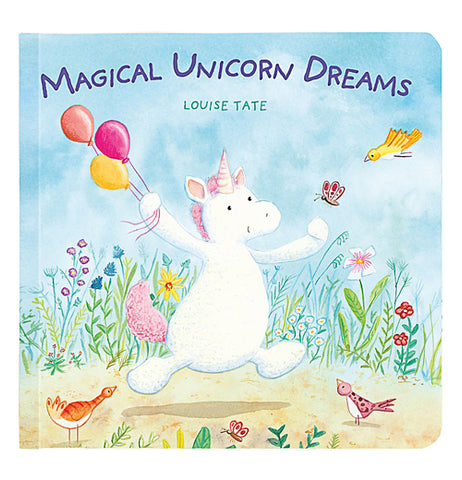 Front view of Magical Unicorn Dreams with a white unicorn running with colored balloons chasing butterflies.