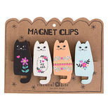 Set of 4 Cats Magnet Clips Comes with Black, White, Orange and Blue and have different decorative flower designs