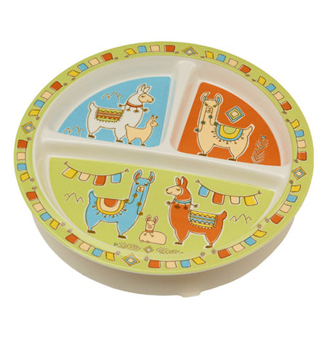 Baby plate with llamas on it.