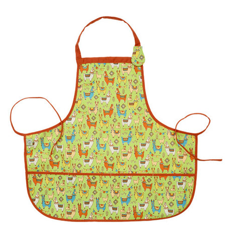This yellow and green kiddie apron has a design of brown llamas covering it and red tying strings.
