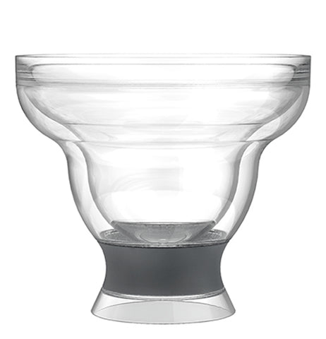 A freeze margarita cooling cup that is clear and black.