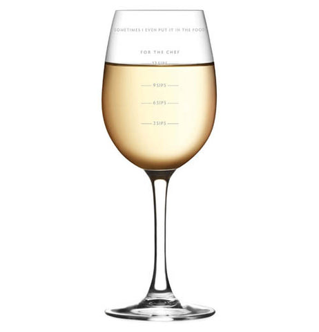 A wine glass having the measurements for ounces on the side of the glass.