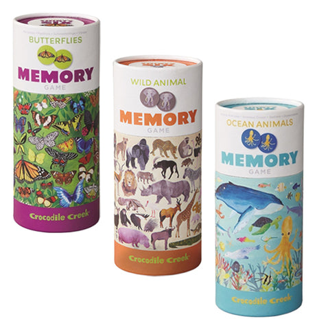 The three Memory Game canisters with Wild Animals in orange, Sea Animals in light blue, and Butterflies in purple.