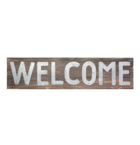 "This is a Metal Pallet Sign that says ""Welcome"" with letters made from metal."