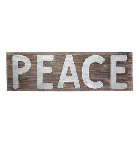 "This is a Metal Pallet Sign that says ""Peace"" with letters made from metal."