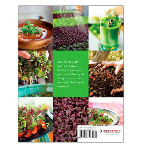 "The back of the ""Microgreens"" book shows eight pictures of how to use greens in so many greens."