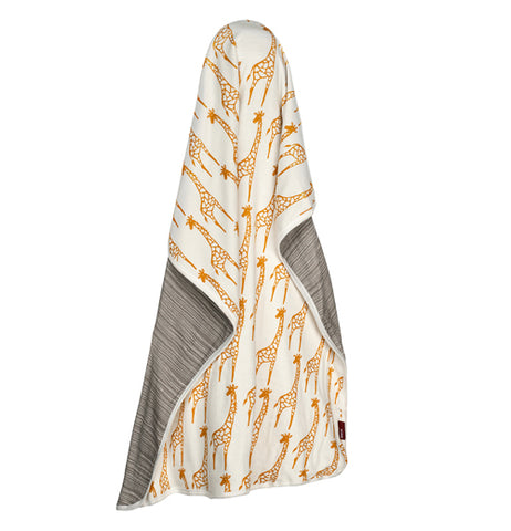 Yellow and grey Giraffe swaddle blanket.