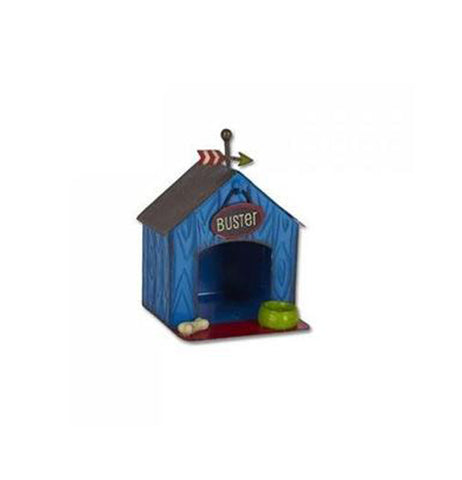 Mini blue dog house with a small oval shaped sign that has the name buster above the door way with a bone and a bowl.