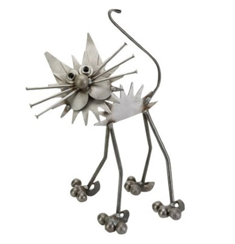 This metal sculpture is of a fluffy cat with six whiskers, two long ears, and an S-shaped curving tail.