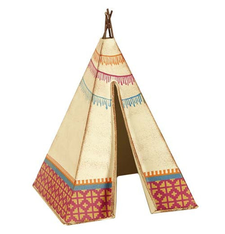 The (Mini) Tee Pee is tan and painted with southwestern motifs.