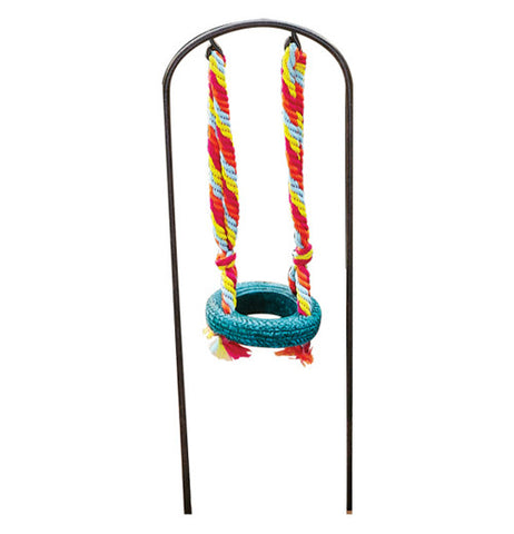 Miniture garden tire swing has red and white rope and a blue tire.
