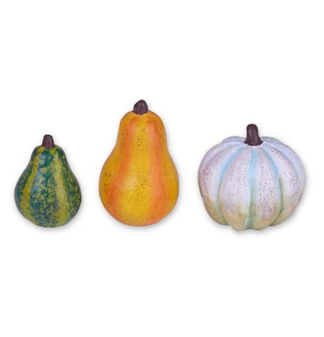 Set of 3 mini gourds for your fairy garden: one green, one yellow and one white.