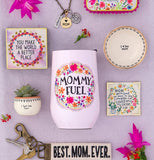 "The ""Mommy Fuel"" Wine Tumbler surrounds by other mom gifts and accessories."