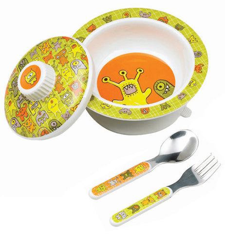 This bowl has orange, yellow and green monsters on it, and it includes a matching lid, spoon and fork.