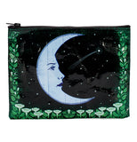 A black zipper pouch with stars and a light blue crescent moon face in the middle with green leaves and flowers bordering the bottom and two sides.