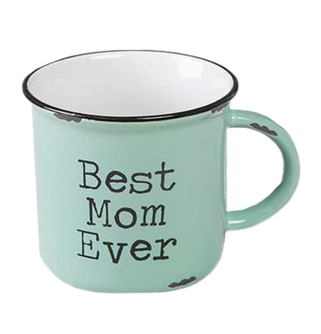"This ceramic camp mug is mint green outside with black rim and white inside. The words read, ""Best Mom Ever"" in black lettering."