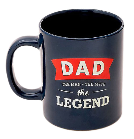 "The ""Dad the Legend 2019"" Mug is a navy blue mug that reads, ""Dad The Man The Myth The Legend""."