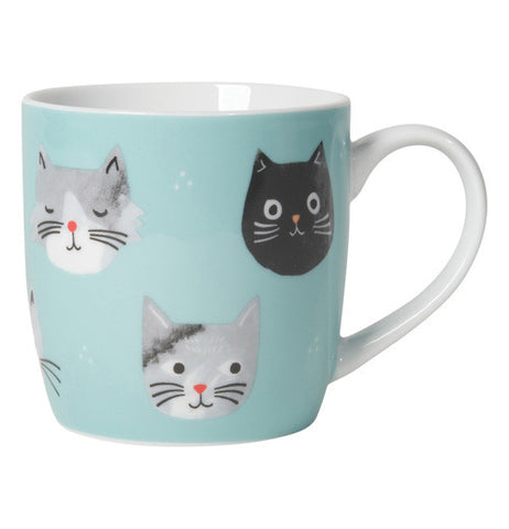 Light blue cup with grey, white and black cats on it and there's white on the inside of the mug and on the handle.