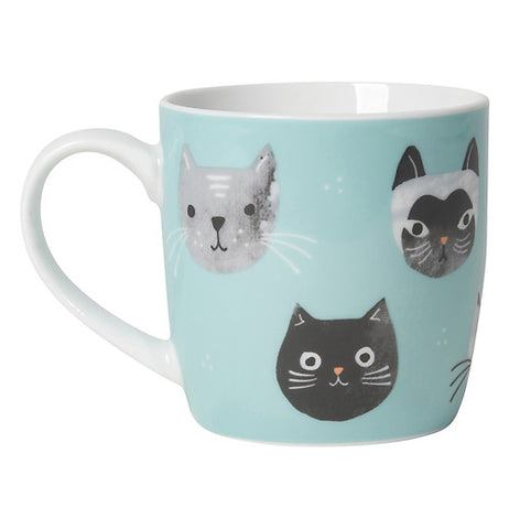 Light blue cup with grey, white and black cats on it.