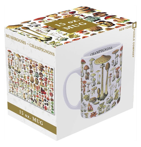 The cup featuring the different mushrooms is shown in its box, which has an image of the mug on one side, and an image of the mushrooms on the other.
