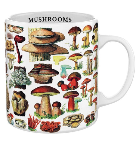 "This white mug features an image of different types of mushrooms. Below the rim, inside the cup, is the word, ""Mushrooms"" in black lettering."