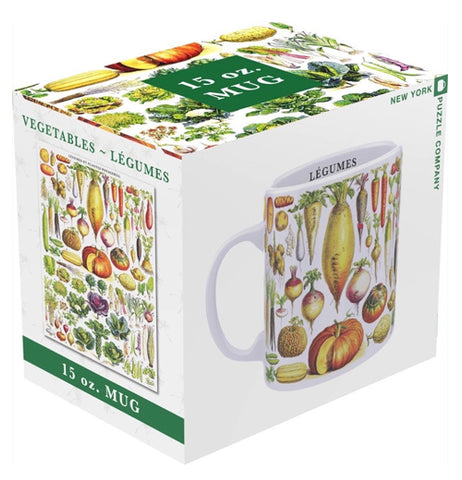 The cup featuring the different vegetables is shown in its box, which has an image of the mug on one side, and an image of the vegetables on the other.