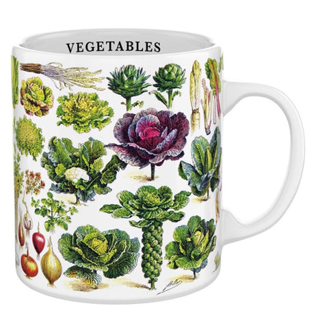 "This white mug features an image of different types of vegetables. Below the rim, inside the cup, is the word, ""Vegetables"" in black lettering."