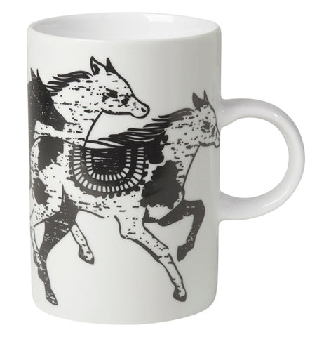 Three black and white horses on a white mug.