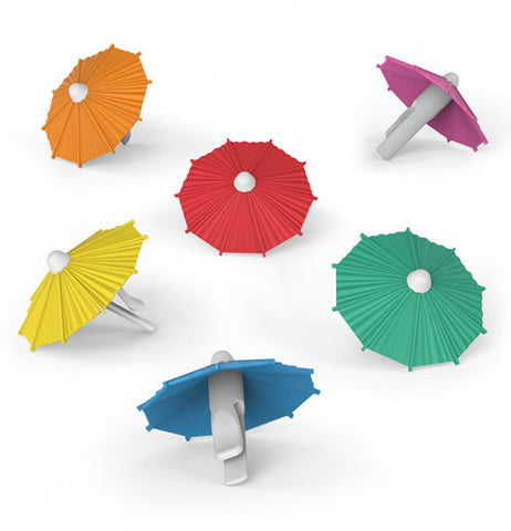 These small drink umbrellas come in six different colors. The first is blue, the second is teal, the third is violet, the fourth is red, the fifth is yellow, and the sixth is orange.
