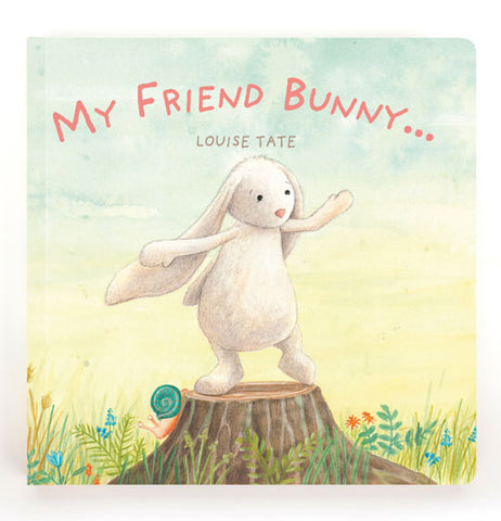 Front view of My Friend Bunny book cover with a white bunny standing on a stump.