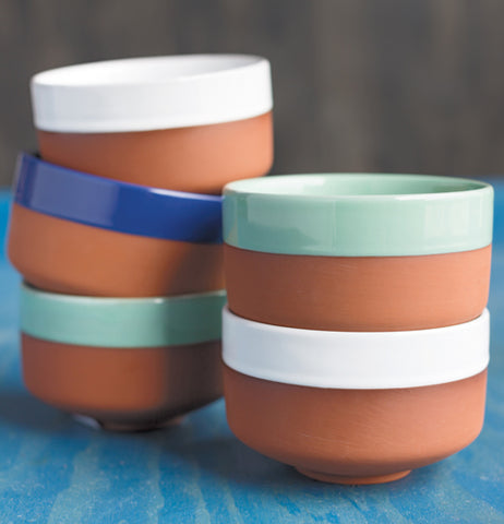 The three soup bowls are shown stacked on top of each other.