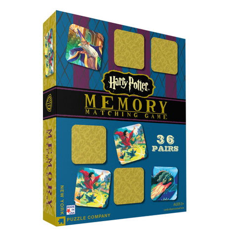 Harry Potter Memory Game that comes with 36 pieces in the game that has illustrations from the Harry potter Books. You have to match cards.