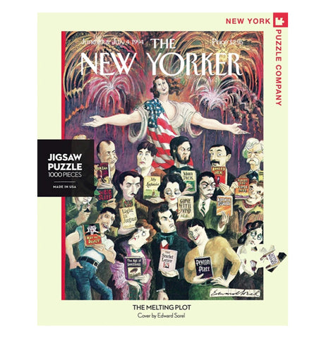 "Front view of ""The Melting Plot"" puzzle with Lady Liberty wearing American flag dress with outstretched arms behind some of America's most famous authors."