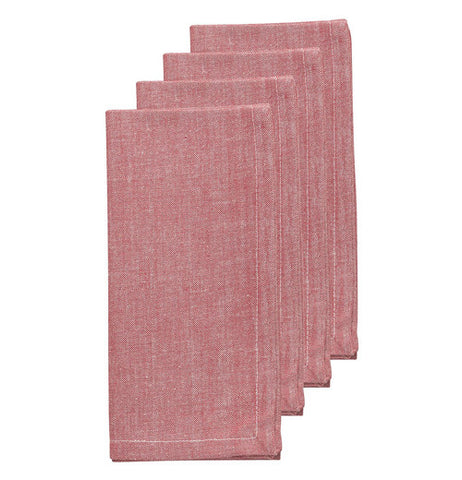 This set of four napkins are chambray red.