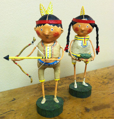 Native American Princess and Guide with Bow and Arrow