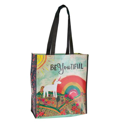 "A recycled unicorn bag has a rainbow and the saying, ""BeYouFul."""