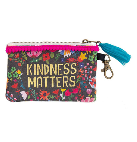 "A Black ID Pouch with a floral pattern and text in the center that reads ""Kindness Matters"""