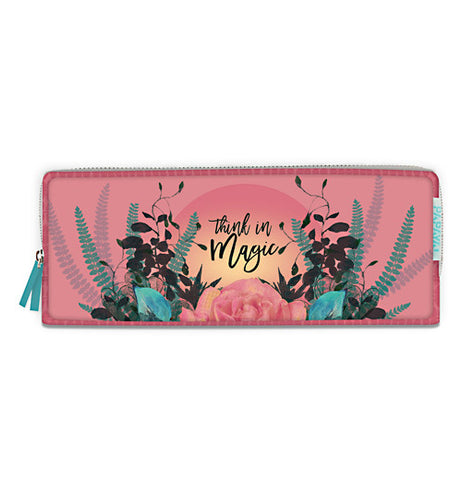 "This pencil case is salmon with flowers and says ""Think In Magic."""