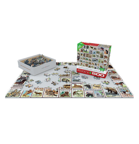 North American Wildlife Vintage Stamps 500-Piece Puzzle