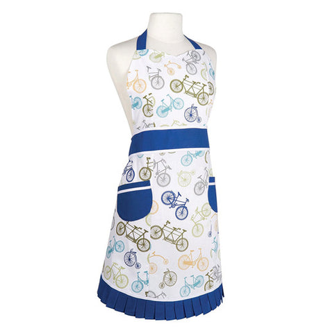 white and blue vintage style bicycle themed apron