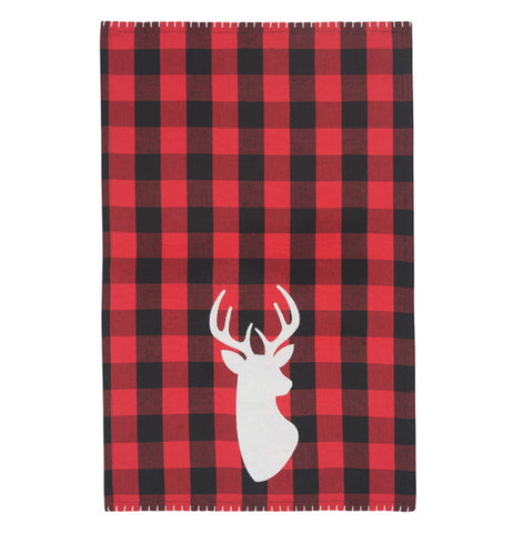 "The ""Deer"" Buffalo Check Tea Towel is a red and black plaid pattern with the white outline of deer."