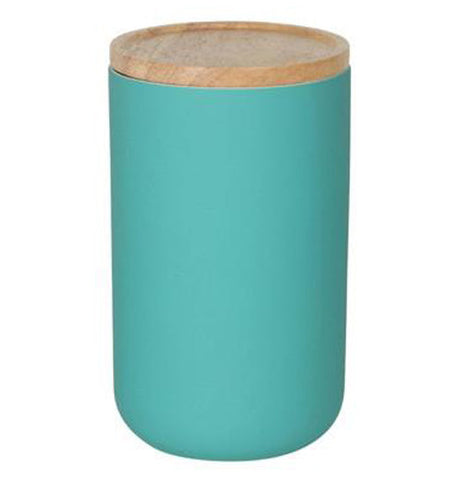 The large canister is turquoise with a wooden lid.