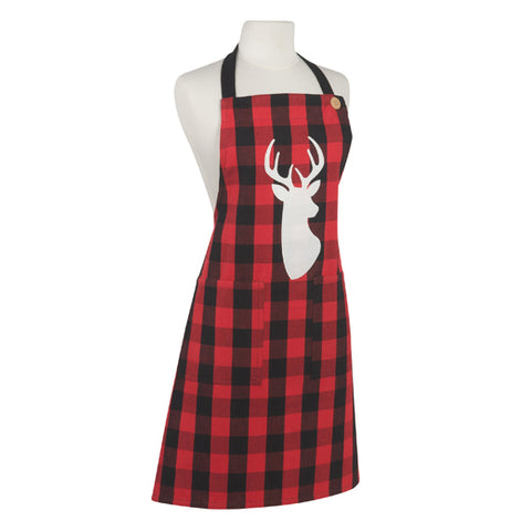 Red and black checkered apron with a white silhouette of a stag's head and a black neck band tied to a mannequin bust.