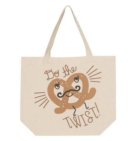 "this tote bag is tan with a large pretzel and says ""Do The Twist"""