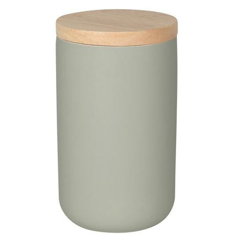 A large grey canister with a wooden lid.