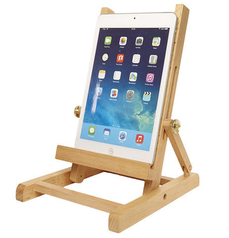 A Brown Wooden Easel with a tablet on it.